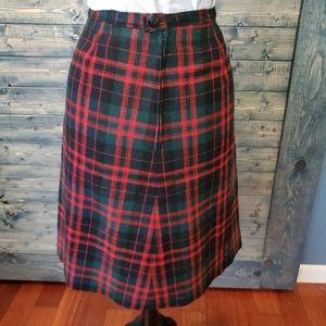 Vintage Plaid wool Aline skirt